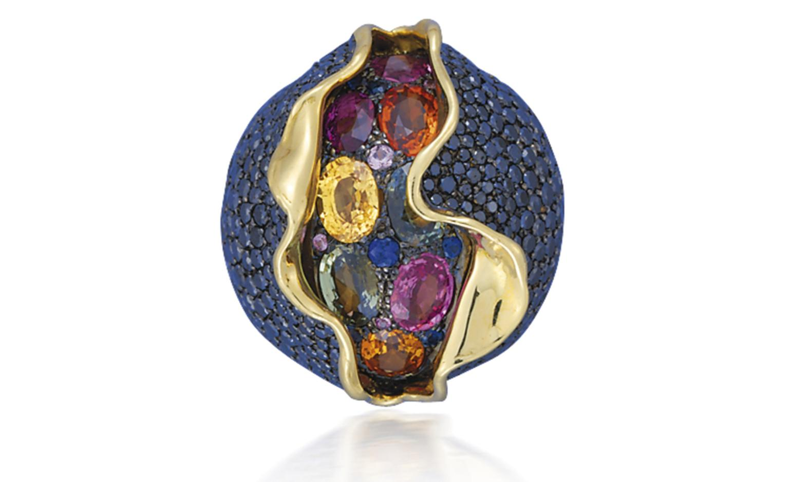 Lot 93 (3). An unusual suite of coloured diamond and coloured sapphire 'Craquele' jewellery, by Andre Marcha. Comprising a hinged bangle, ear clips and a ring. Estimate 50,000 - 60,000 U.S. dollars.
