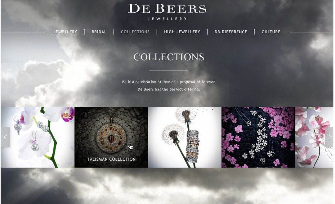 Image from De Beers new website Collections Page