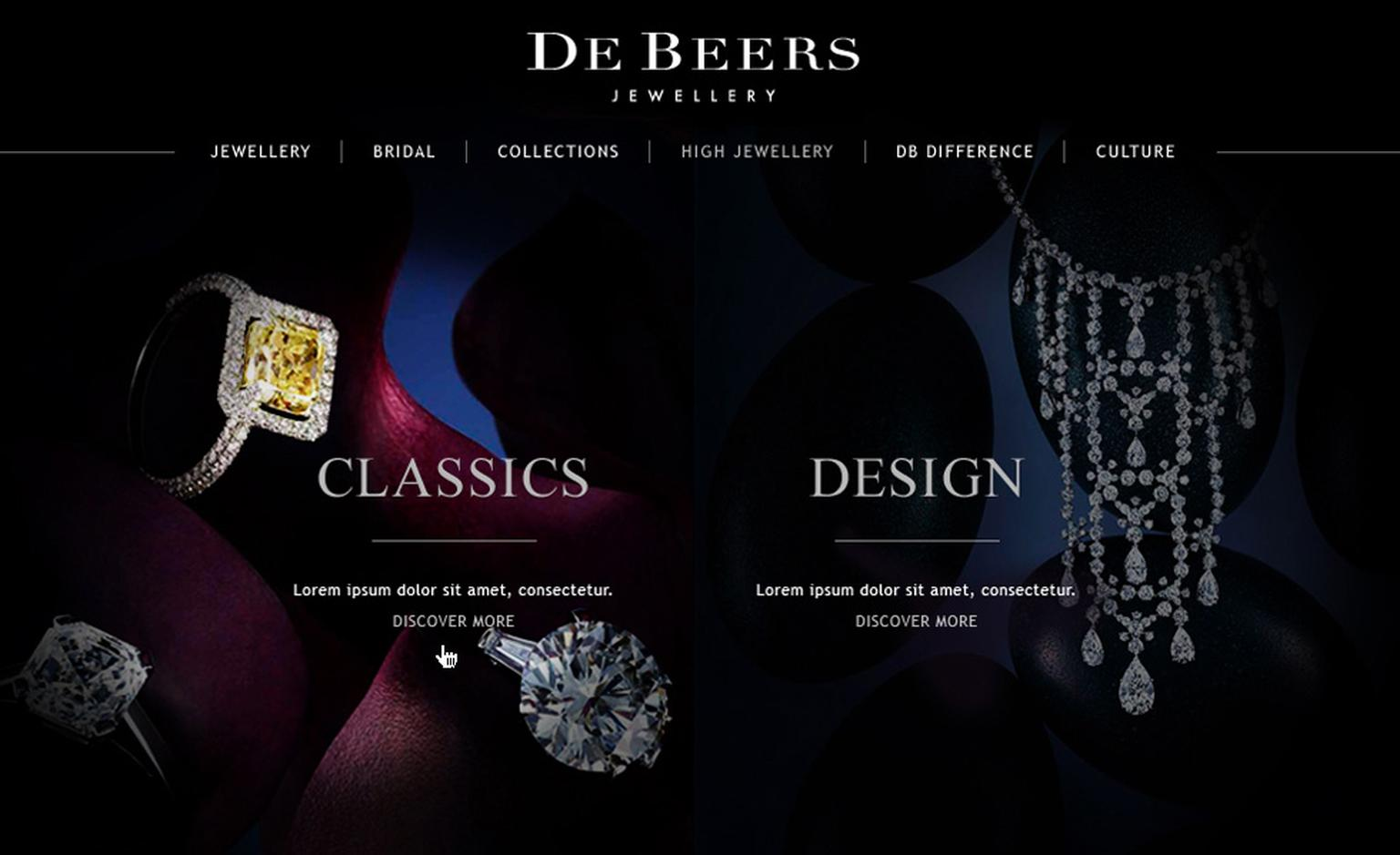 Image from De Beers new website showing the High Jewellery collections page