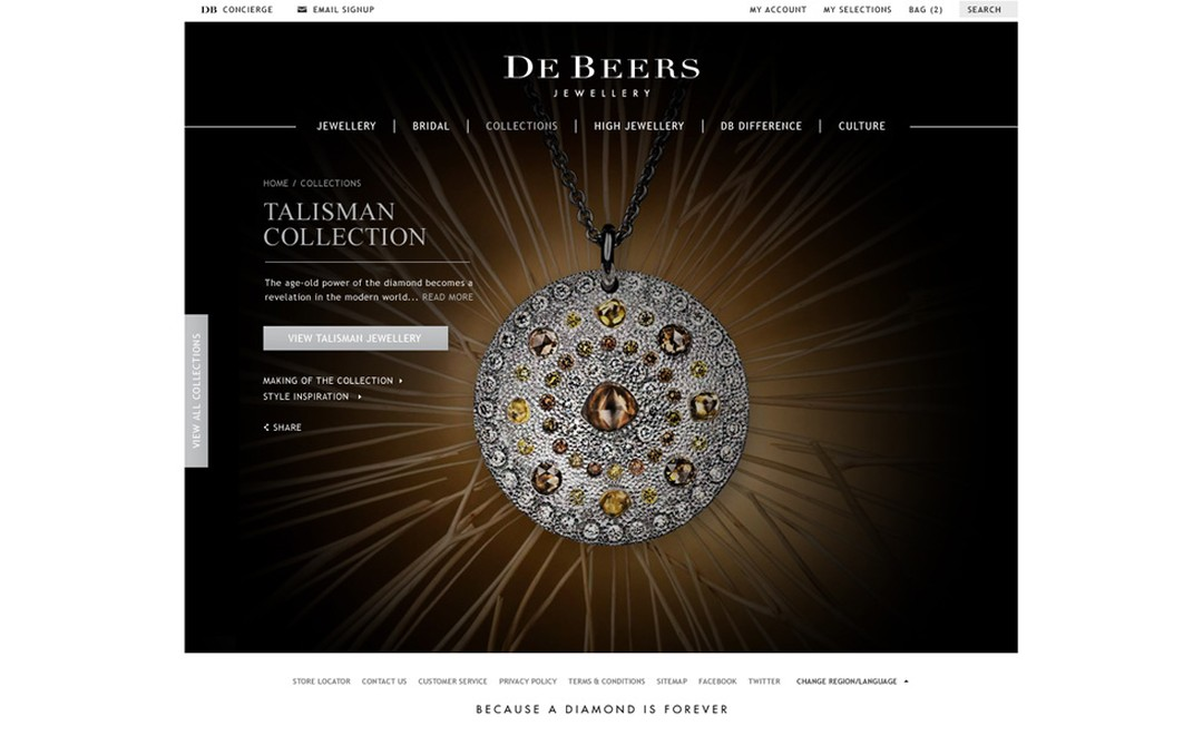 Image from De Beers new website featuring Talisman pendant