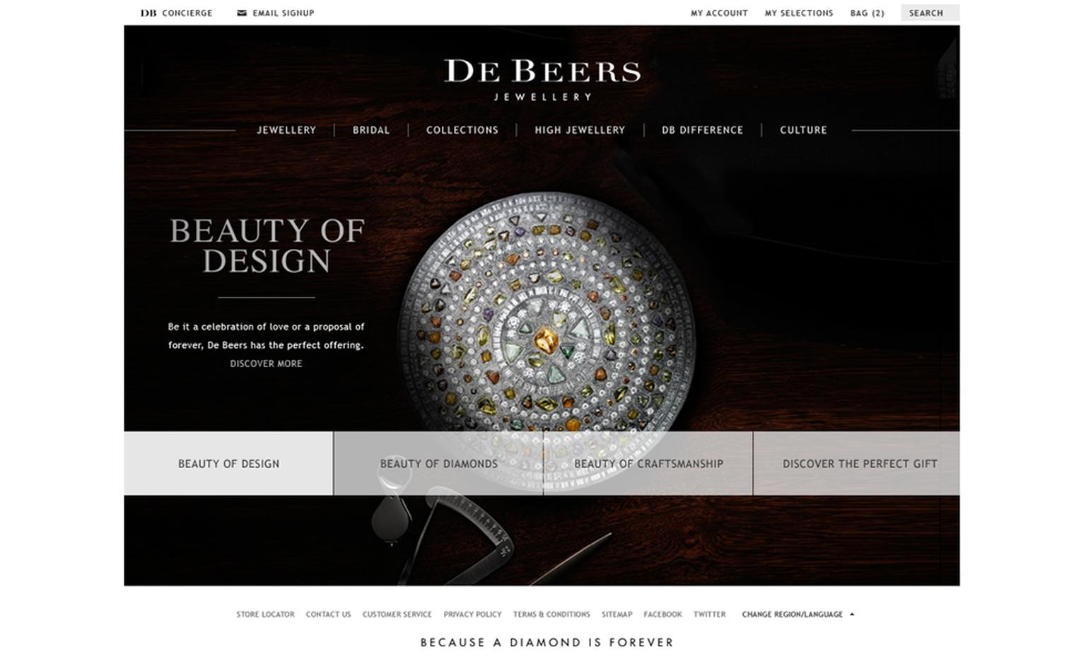 Image from De Beers new website featuring Talisman collection
