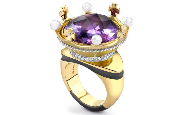 Theo Fennell 18ct Yellow & White Gold Amethyst, Diamond and Pearl Coronet Ring £12,500