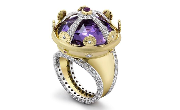 18ct Yellow & White Gold Amethyst, Diamond and Ruby Coronet Ring £16,700