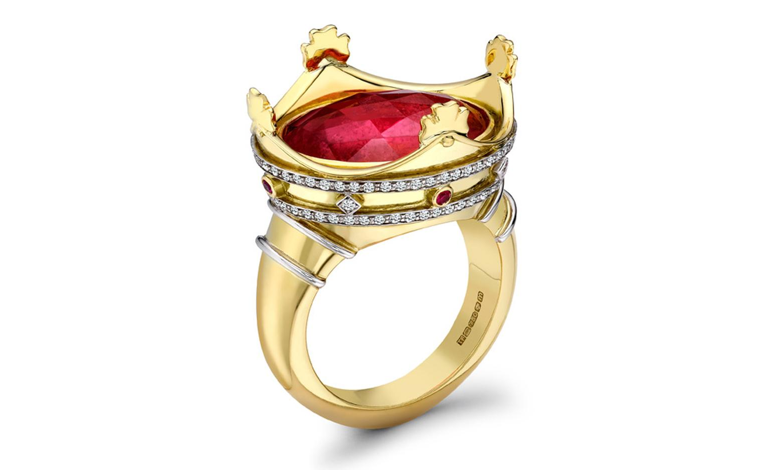 Theo Fennell 18ct Yellow & White Gold Rubelite, Diamond and Pink Sapphire Coronet Ring £12,750