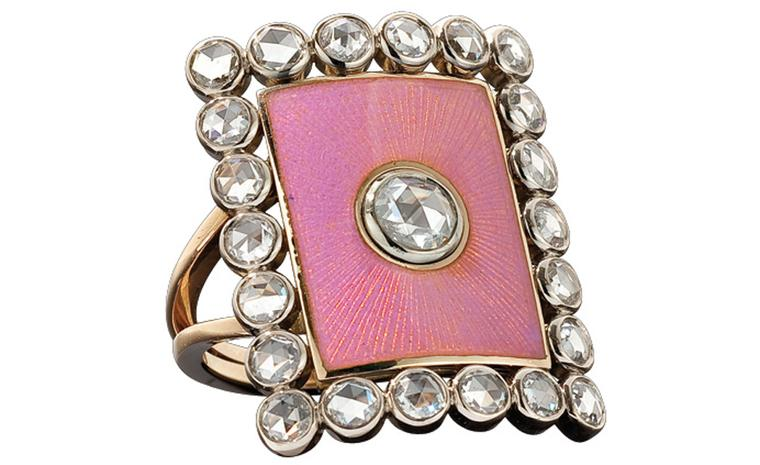Solange Azagury-Partridge Countess Ring with diamonds and enamel. Made to order and price on request.