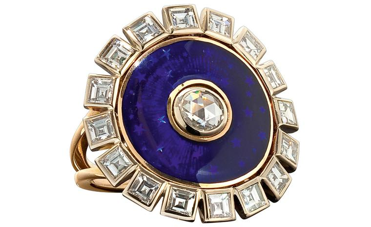 Solange Azagury-Partridge Duchess Ring with diamonds and enamel. Made to order and price on request.