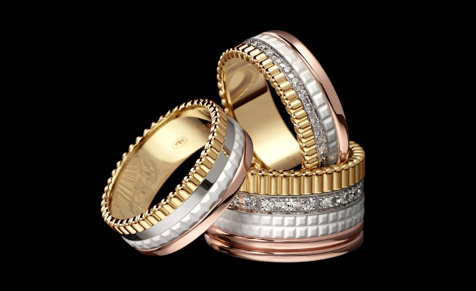 The new Boucheron Quatre bridal rings featuring white ceramic.