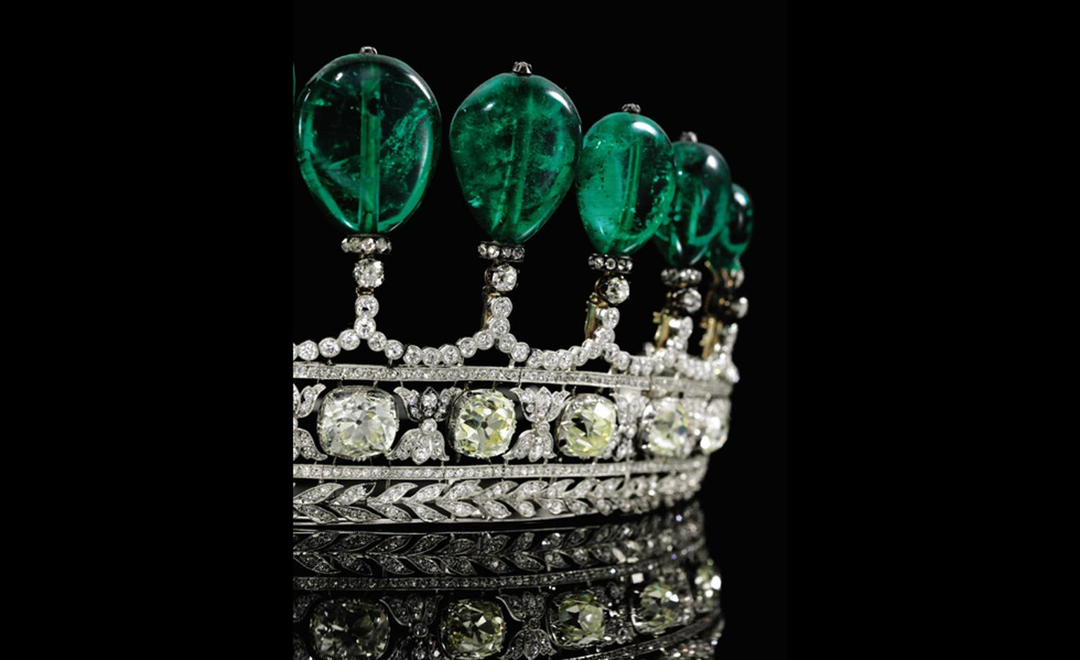 EEmerald tiara circa 1900 coming up for sale at Sotheby's Geneva May 17 Auction, from the collection of Princess Katharina Henckel von Donnersmarck and one of the most important tiaras to come to auction in 30 years. The emeralds are Columbian a...
