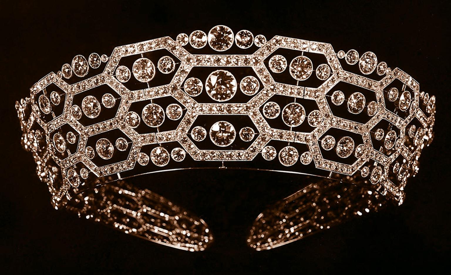 Boucheron second version of the Lady Greville Tiara redesigned in 1921 and later inherited to the Queen Mother in 1942. It was since modified and worn by Camilla, Duchess of Cornwall in 2006.