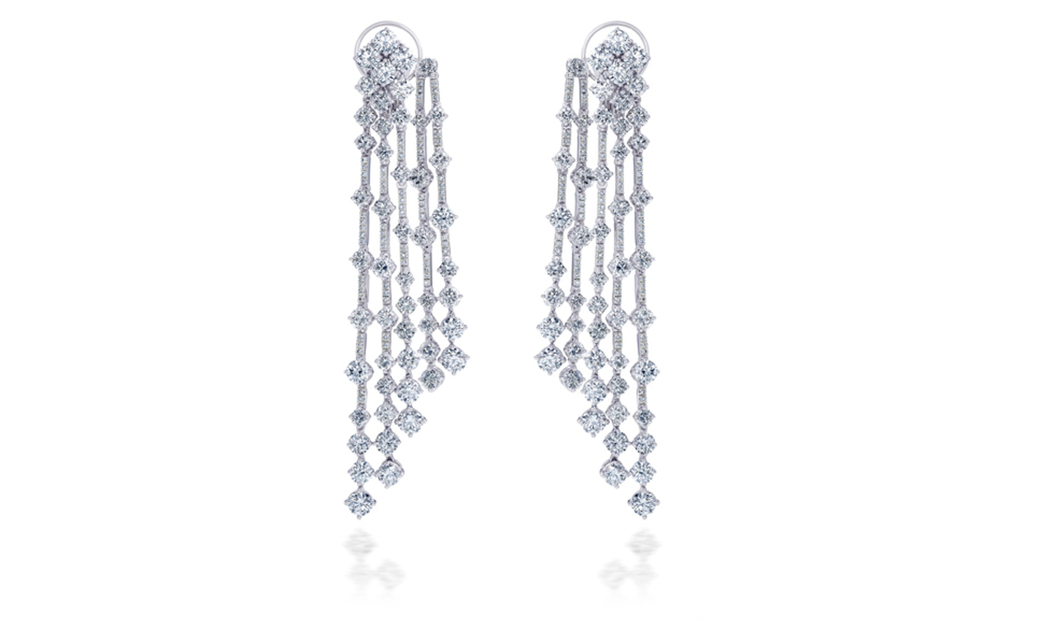 DE BEERS, Arpeggia collection, five-line earrings in white gold. POA