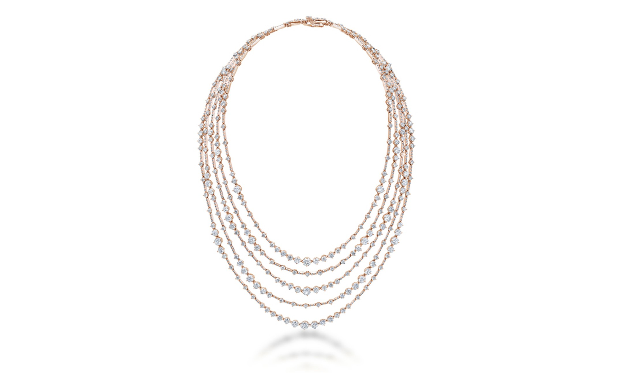 DE BEERS, Arpeggia Collection, five-line necklace in pink gold. POA