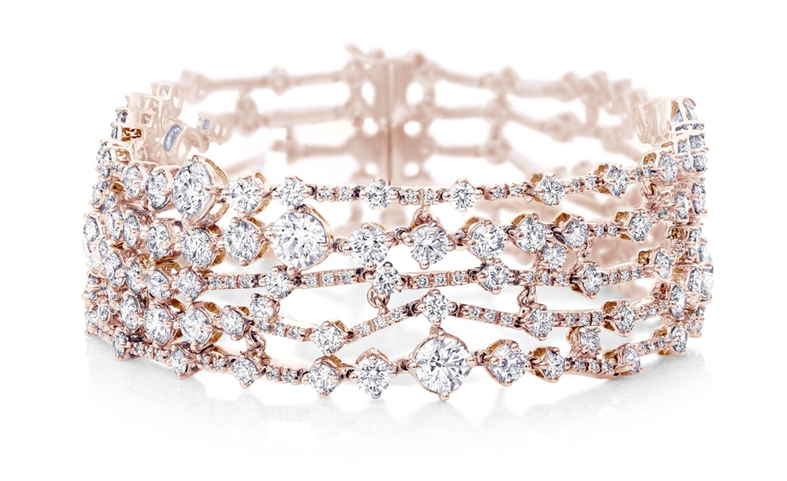 DE BEERS, Arpeggia collection, five-lines bracelet in pink gold. POA