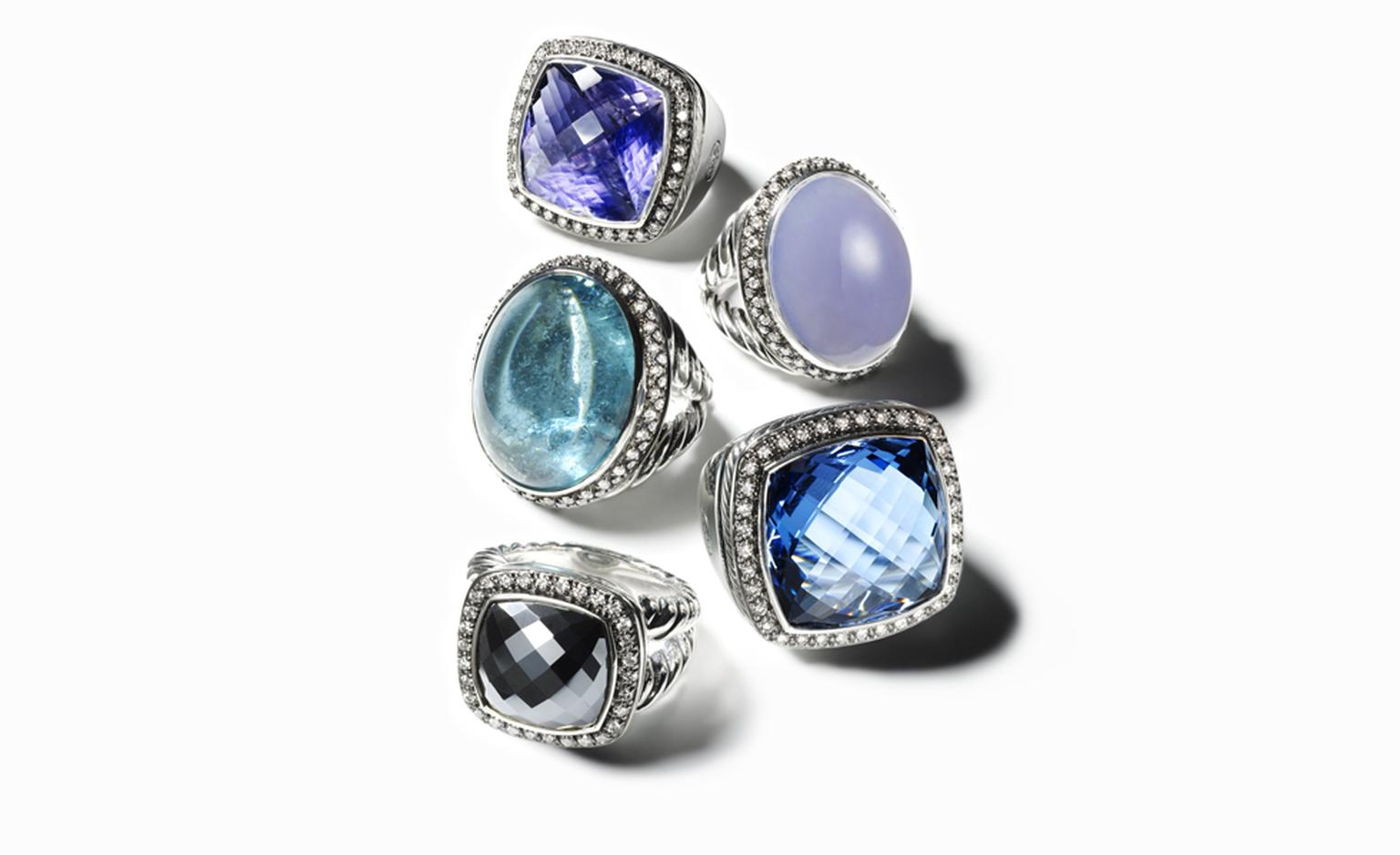 DAVID YURMAN, Lolite Albion Ring, POA. Blue Chalcedony Signature Oval Ring, $8,800. Green Tourmaline Signature, POA. Hampton Blue Topaz Albion Ring, $2550. Hematite Albion Ring, $1400