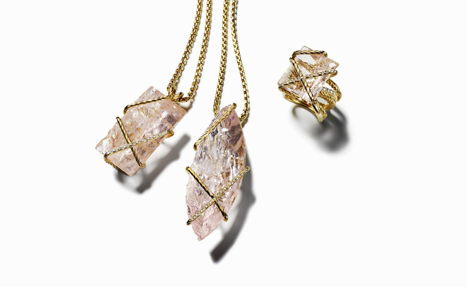 DAVID YURMAN, Morganite Cable Wrap Pendants, POA. Morganite Cable Wrap Ring, $8800
