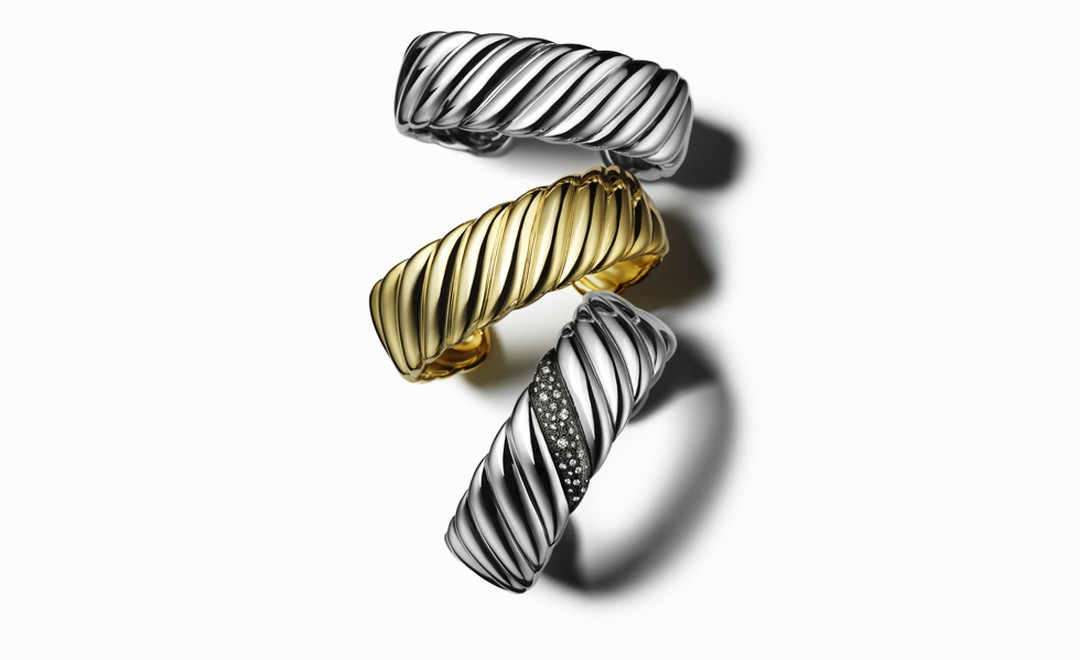 DAVID YURMAN, Narrow sculpted cuffs in silver and gold, from $550 - $7,950