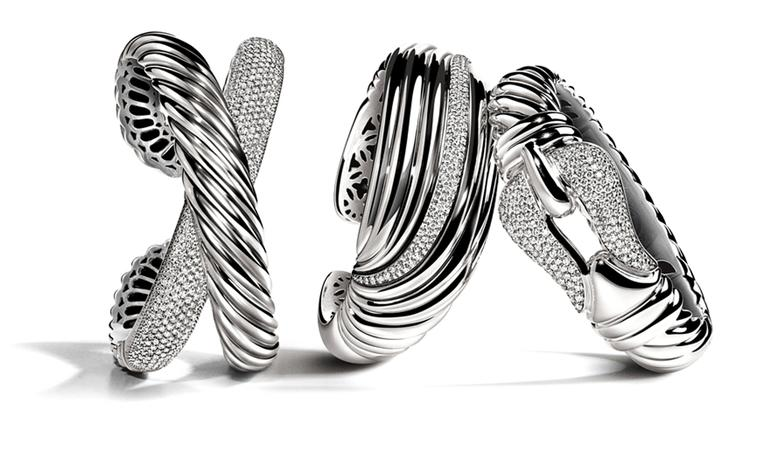 DAVID YURMAN, Pave X Cuff, $3,500; Pave Diamond Sculpted Cable Cuff, $3,500; Pave Diamond Cable Buckle Bracelet, $4,950