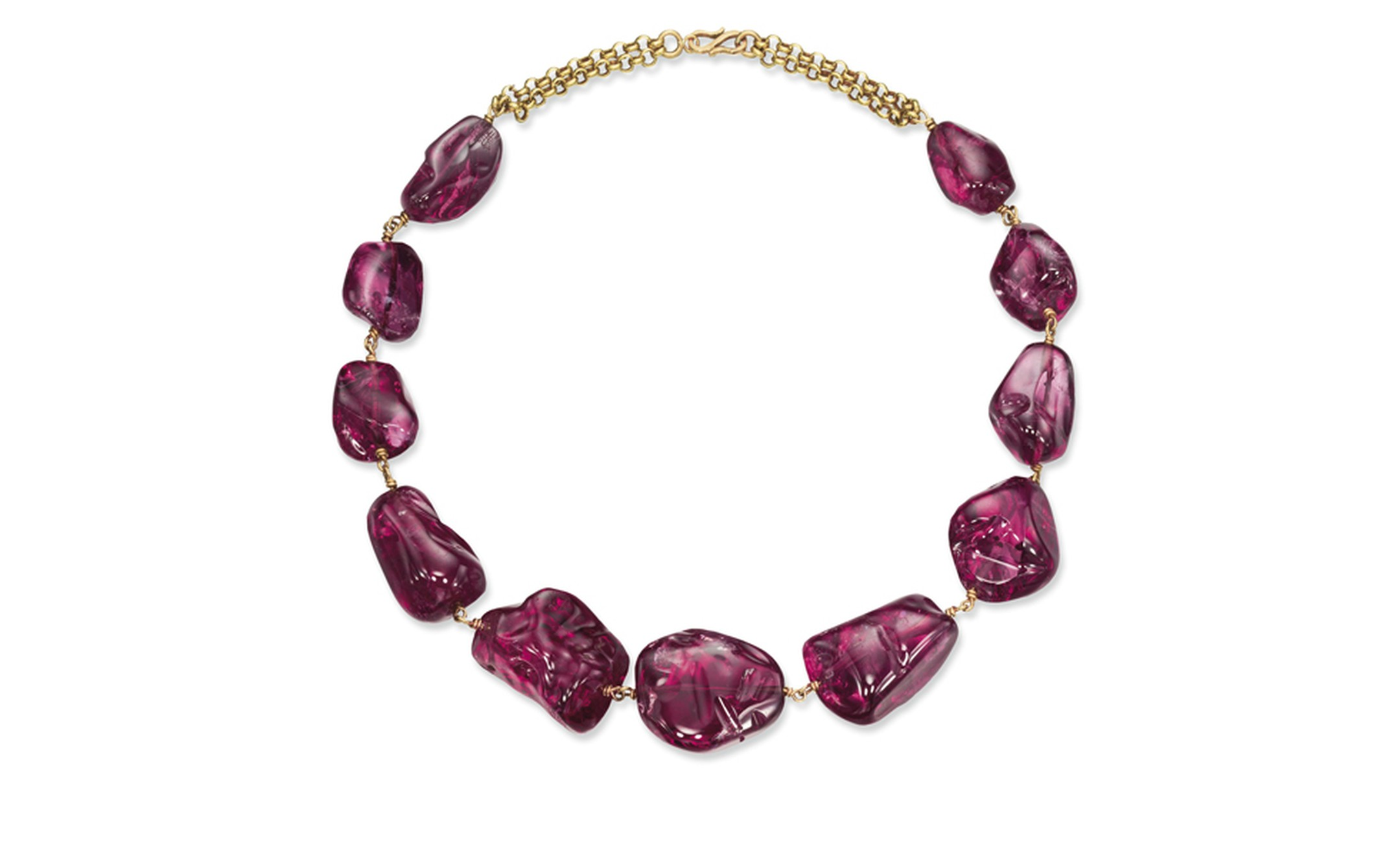 Lot 306. An imperial Mughal Spinel Necklace. With eleven polished spinels, yellow gold link backchain and hook clasp. Estimate CHF 1,450,000 - CHF 2,400,000 SOLD FOR CHF 4,579,000
