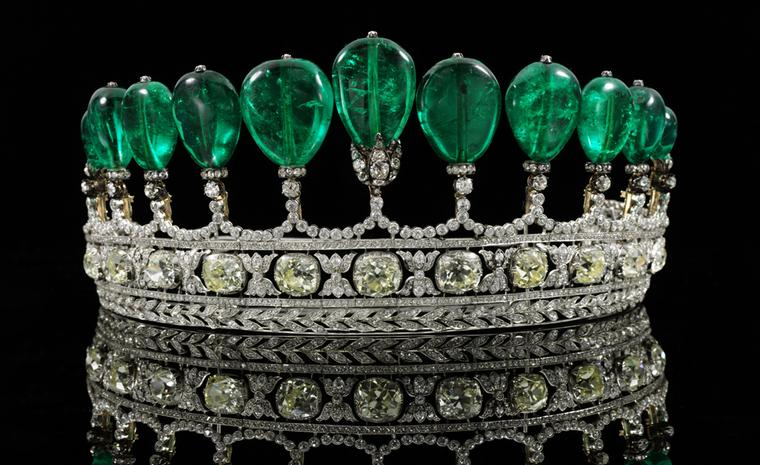 This rare emerald tiara broke auction records as the highest price paid for a tiara