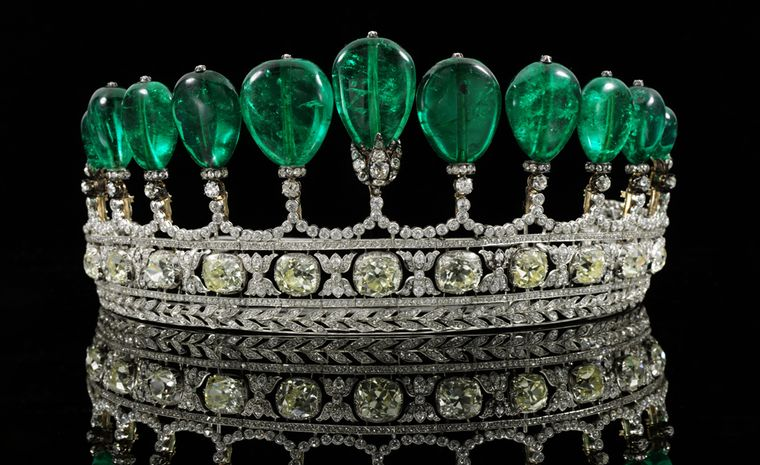 Lot 443. This magnificent and rare emerald and diamond tiara, formerly in the collection of princess Katherina Henckel Von Donnersmarck, circa 1900, broke auction records as the highest price paid for a tiara (CHF 11,282,500 or US 12 million) an...