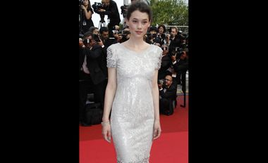 Astrid Bergès-Frisbey, the French actress, winner of the 2011 Trophée Chopard, was wearing a Chopard white gold bracelet set with diamonds (49 cts).