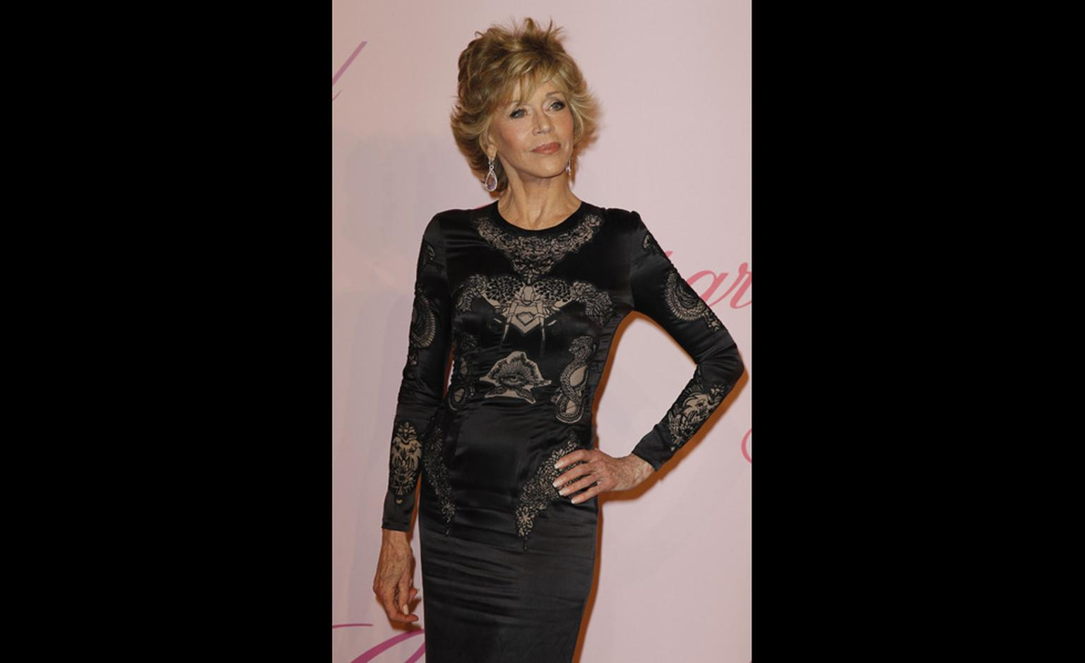 Jane Fonda at Chopard's Crazy Horse party at the Cannes Film Festival 2011 wearing Chopard jewels.