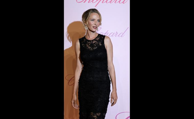 Uma Thurman at Chopard's Crazy Diamonds party at the Cannes Film Festival 2011 wearing Chopard jewels.