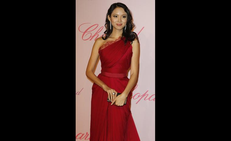 Zhang Zilin at Chopard's Crazy Diamonds party at the Cannes Film Festival 2011 wearing Chopard jewels.
