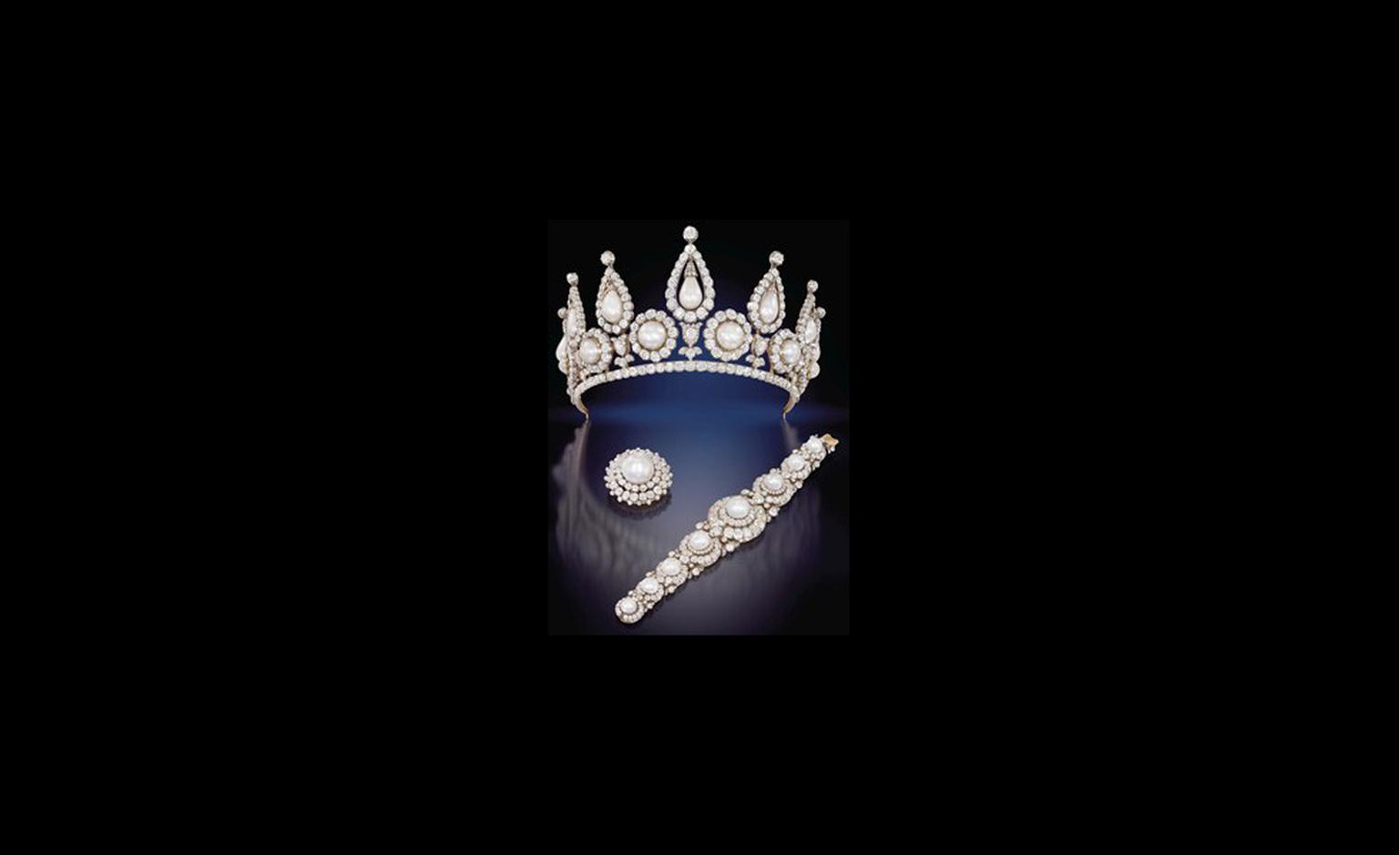 The Rosebery natural pearl and diamond tiara, bracelet and brooch.