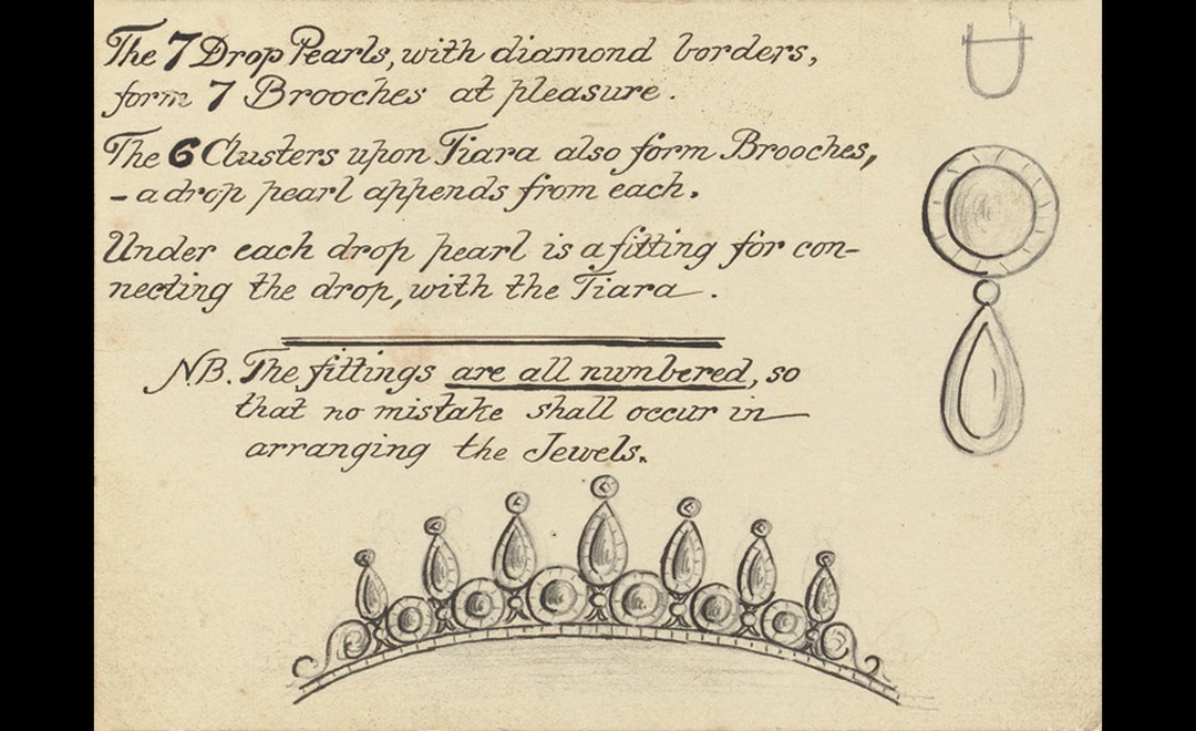 Original sketches made for the Rosebery tiara that include notes on the pearls.