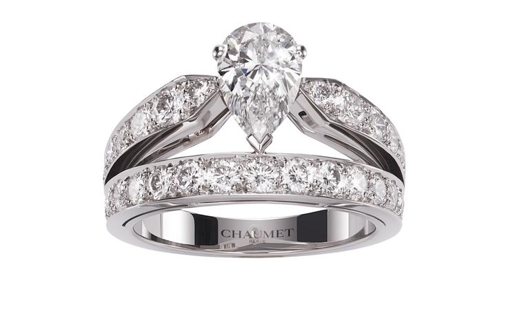 CHAUMET, Josephine collection, Tiara platinum ring set with a pear cut diamond. POA