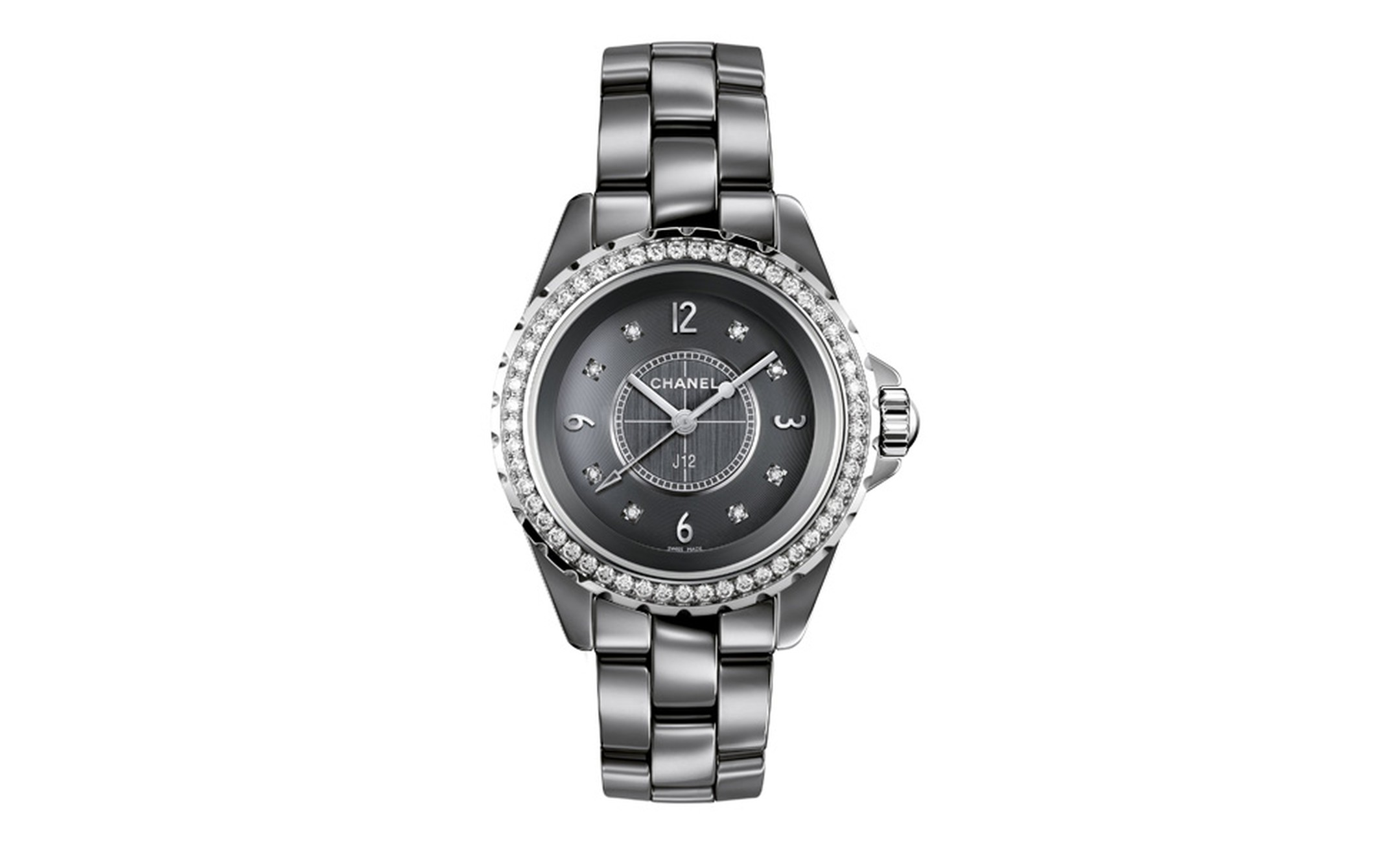 Chanel J12 Chromatic watch in titanium ceramic. 53 diamonds. Dial set with 8 diamond indicators. High-precision quartz movement. Functions: hours, minutes, seconds. Water-resistance : 50 meters. 33mm diameter