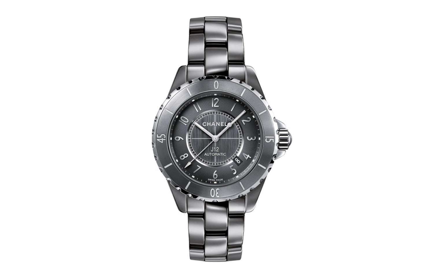 Chanel J12 Chromatic watch in titanium ceramic, a new highly scratch-resistant material almost as hard as sapphire. Self-winding mechanical movement. Functions: hours, minutes, seconds, date. 42-hour power reserve. Unidirectional rotating bezel....