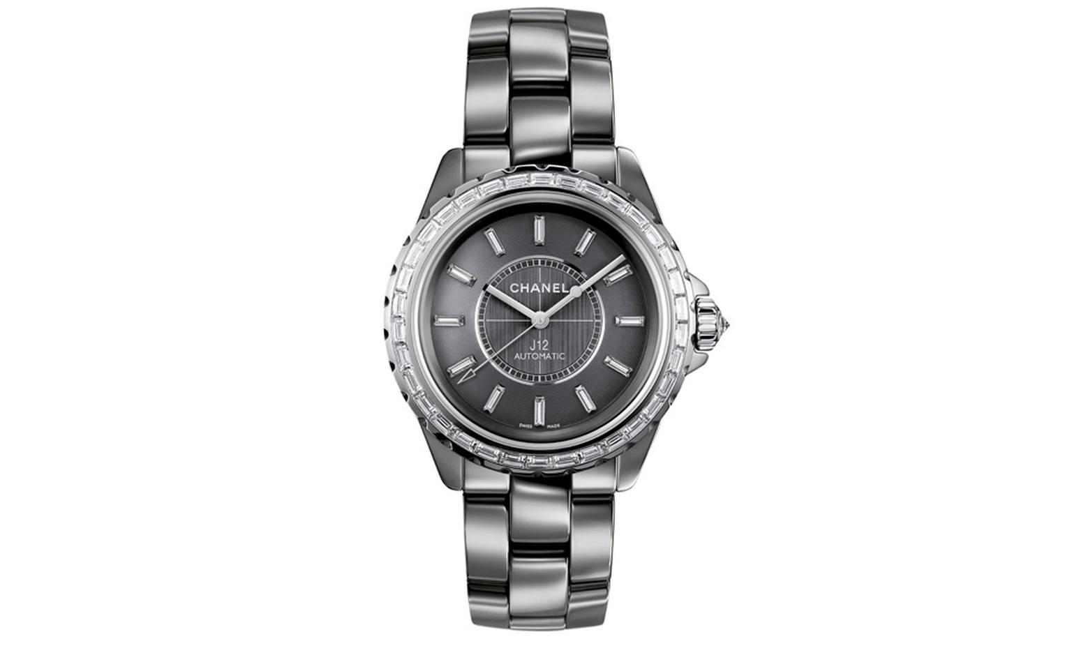 Chanel J12 Chromatic watch in titanium ceramic. 34 baguette-cut diamonds. Dial set with 12 baguette-cut diamond indicators . Brilliant-cut diamond crown. Self-winding mechanical movement. 42-hour power reserve. Functions: hours, minutes, seconds...