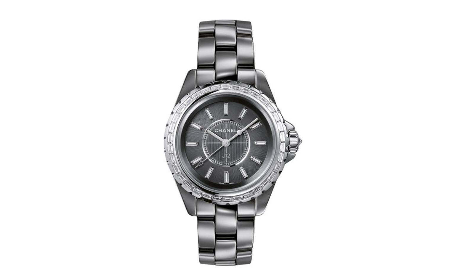 Chanel J12 Chromatic watch in titanium ceramic. 18-karat white gold bezel, crown and hands. 34 baguette-cut diamonds. Dial set with 12 baguette-cut diamond indicators. Brilliant-cut diamond crown. High-precision quartz movement. Functions: hours...