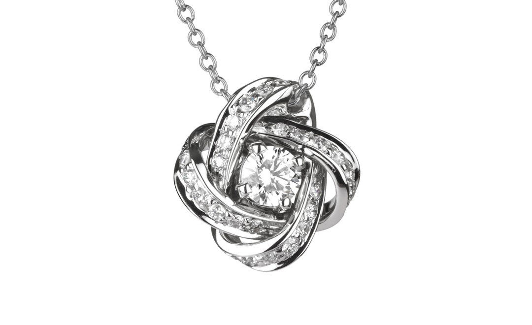 BOUCHERON, Ava Pivoine Pendant in white gold paved with diamonds. Price from £2,760