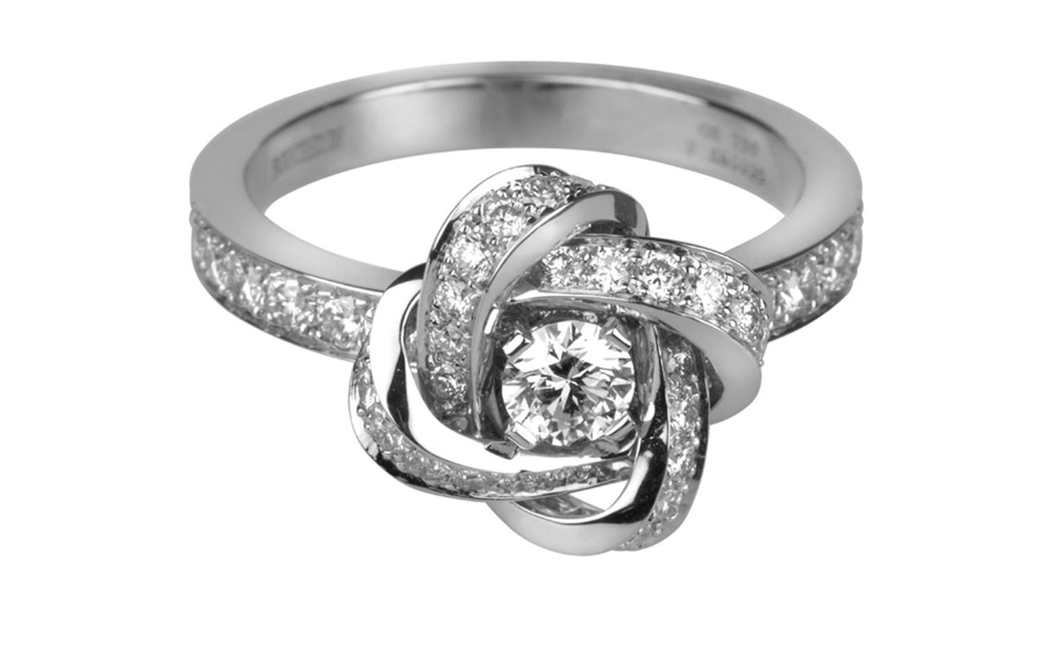 BOUCHERON, Ava Pivoine Ring in white gold paved with diamonds. Price from £2,900