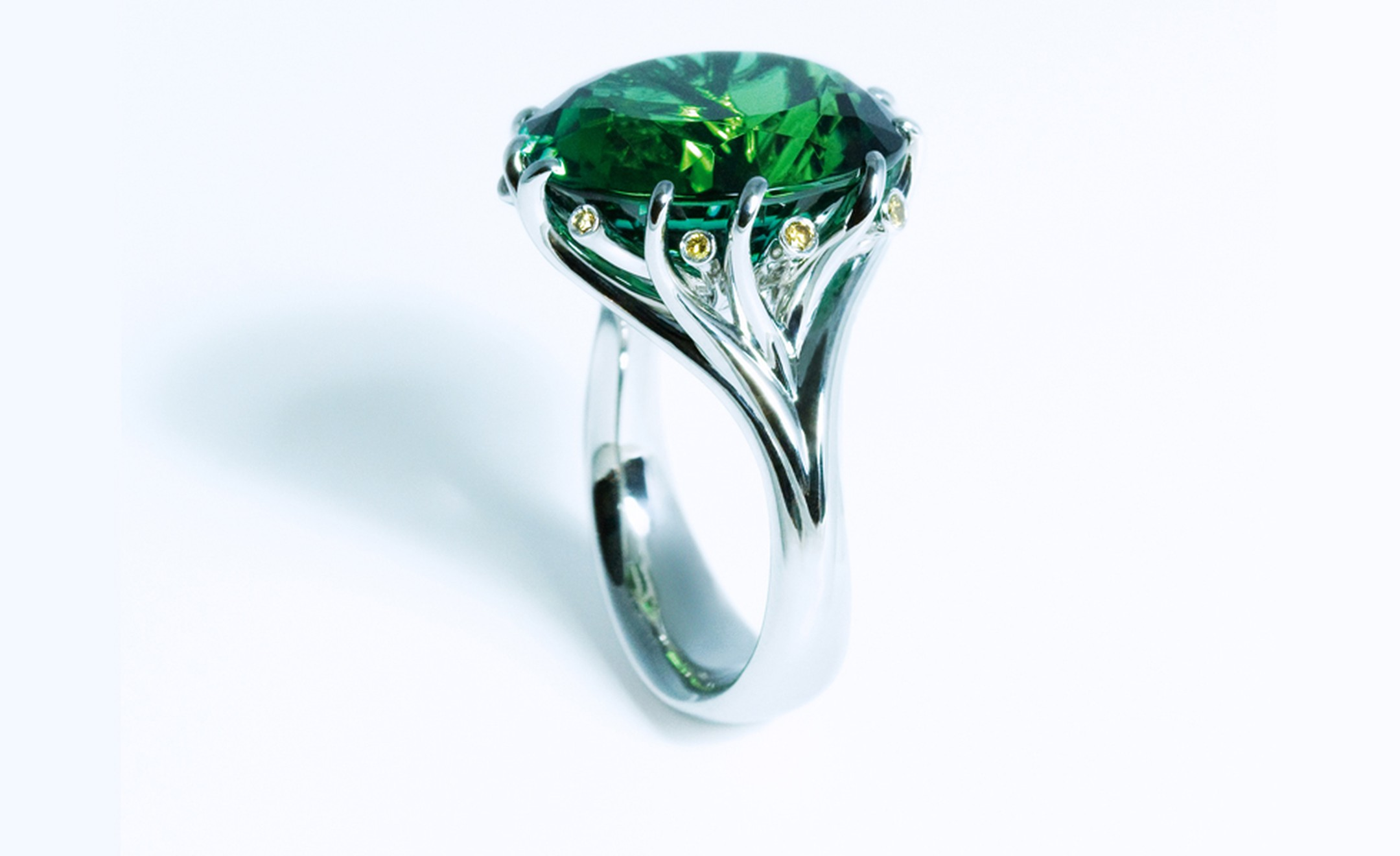 JON DIBBEN, 'Meadow' ring set with  a green tourmaline and yellow diamonds
