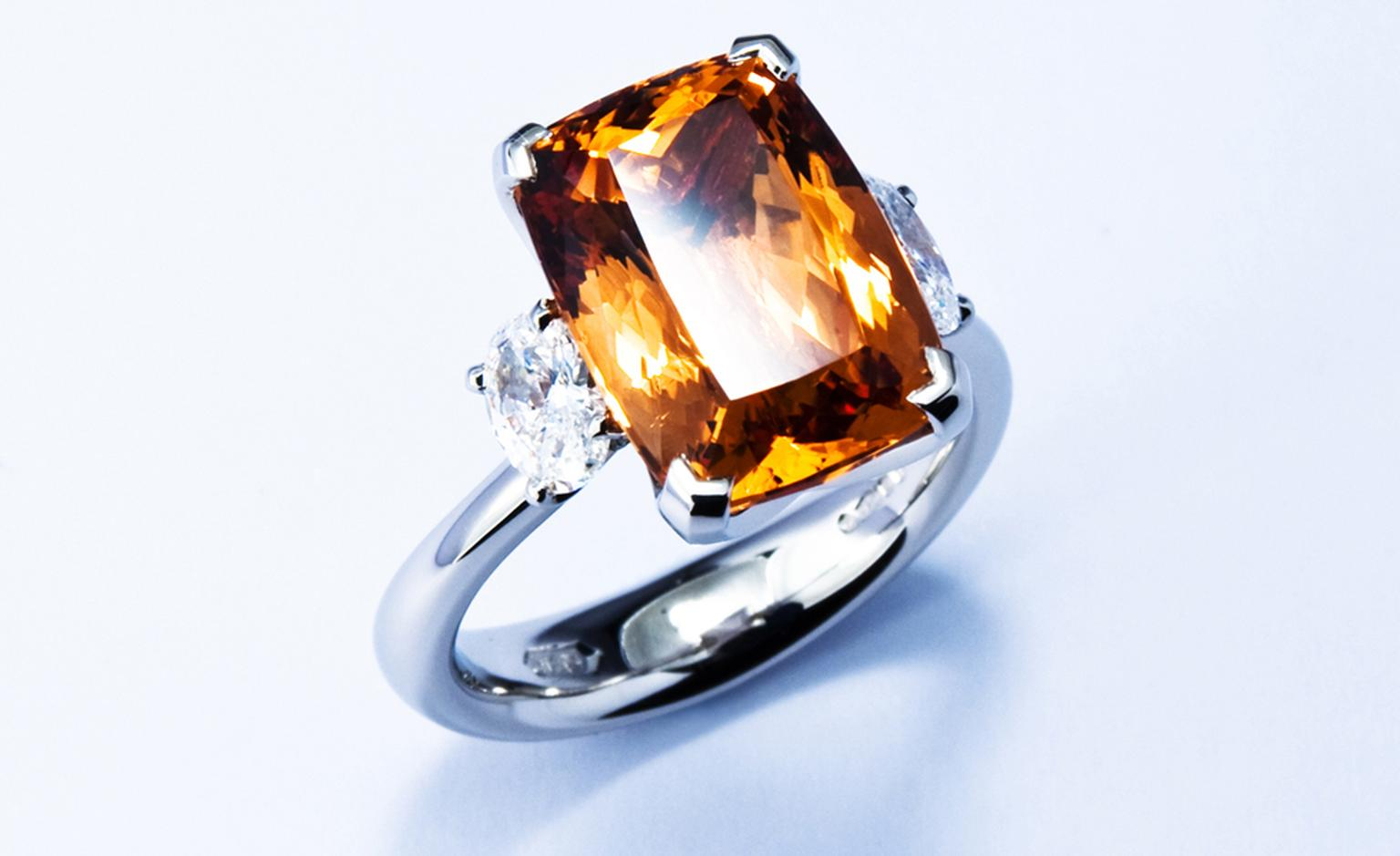 JON DIBBEN, Precious topaz and diamond ring