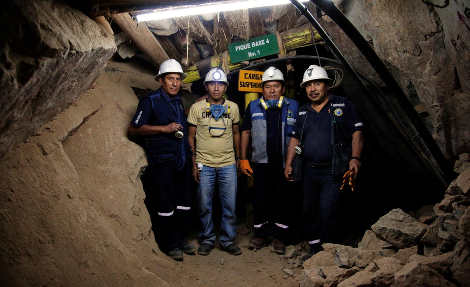 Workers inside the SOTRAMI gold mine in Santa Filomena, in Peru. SOTRAMI is one of the cooperatives working with Fairtrade ensuring a fair deal for small scale gold miners