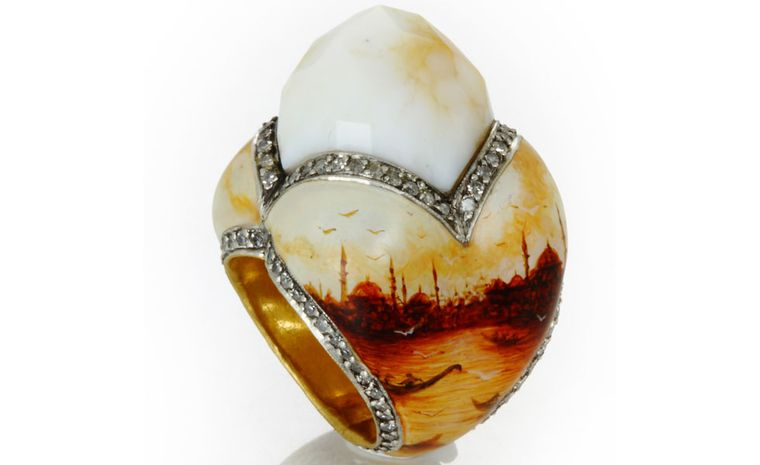 Sevan Biçakçi ring with miniature paintings of Istanbul on the sides and a quartz dome.