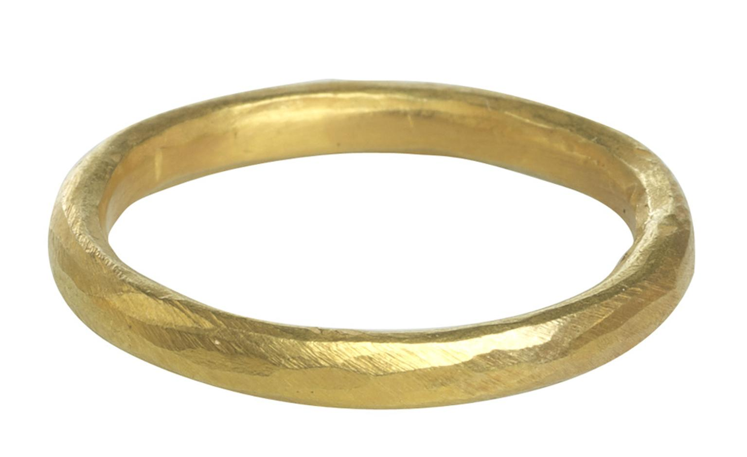 Pippa Small Fairtrade gold band, the rustic hammered finish is very much in line with Pippa's work and reminds us of the human element involved in both the mining and making of jewellery.