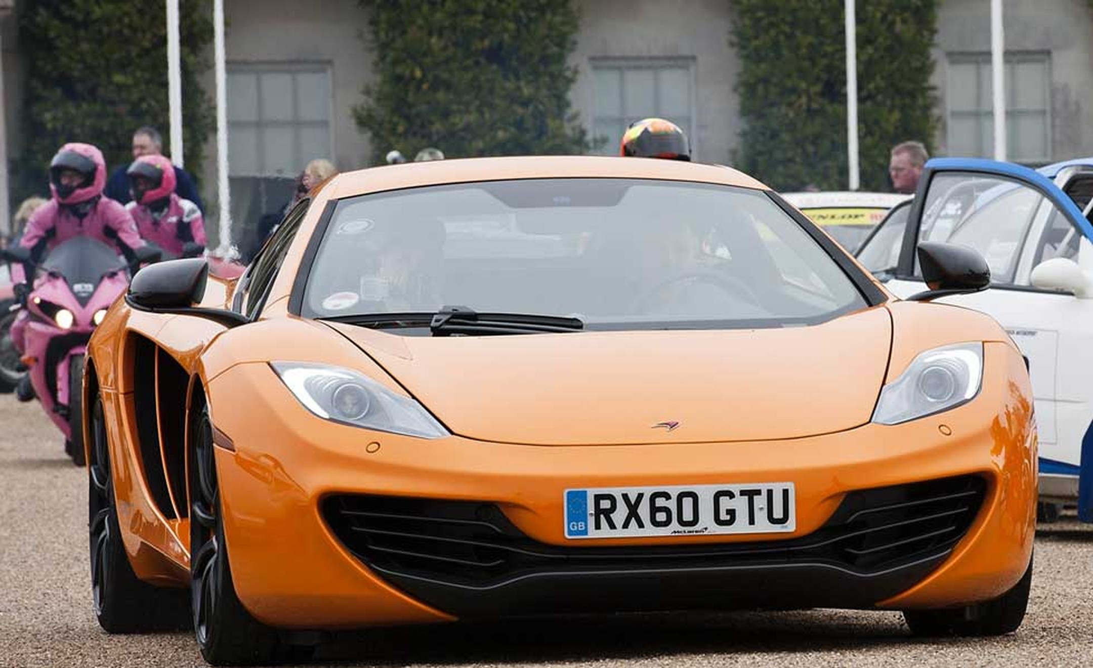 The new McClaren MP4 supercar at the Goodwood preview this year.