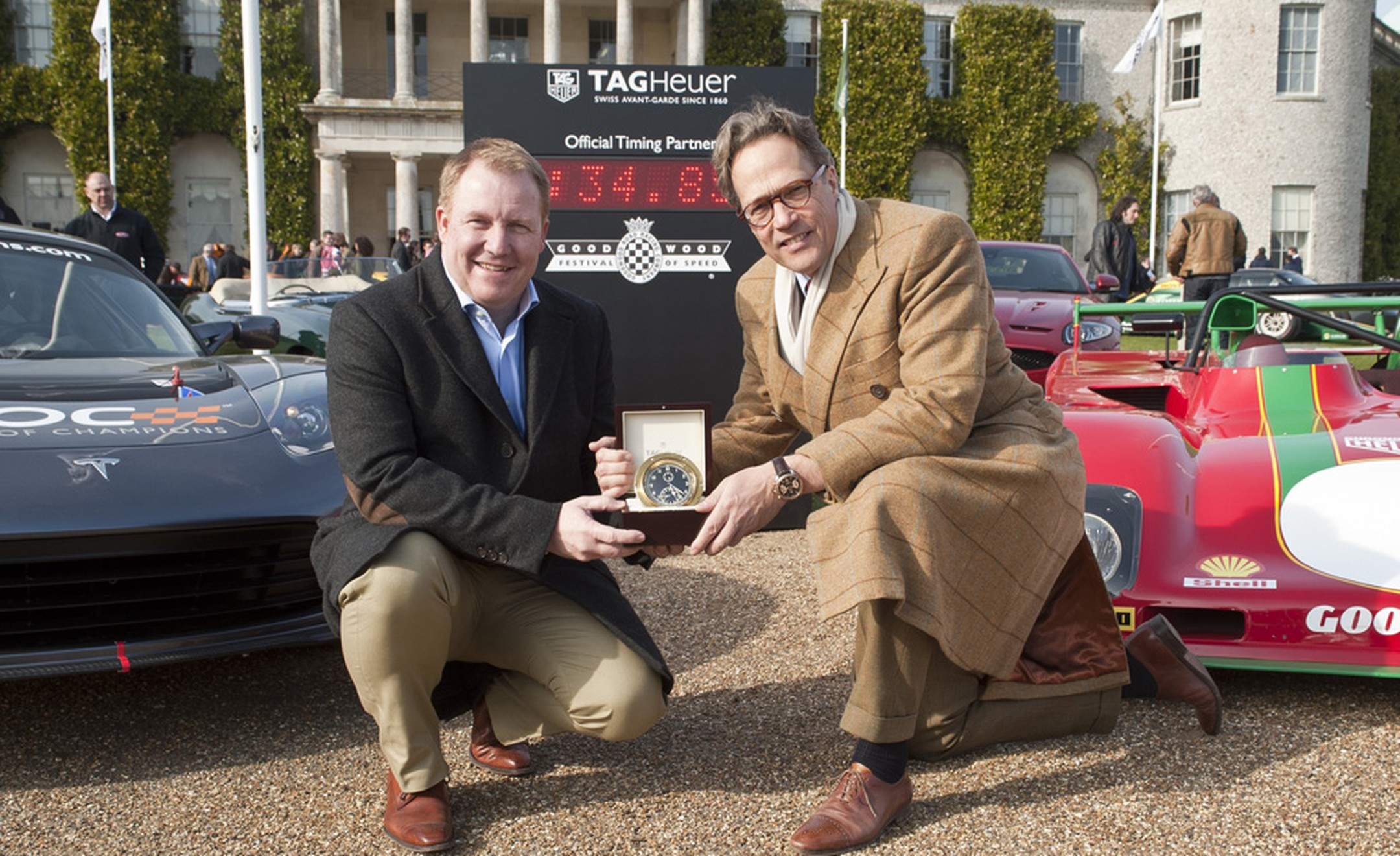 TAG Heuer's Rob Diver and Lord March at Goodwood House.