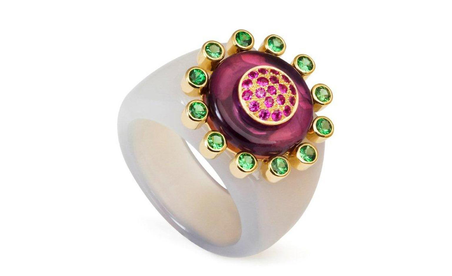 Amanda Brighton Princess of the Woods agate ring set with tsavorite, amethyst and hot pink sapphires. £2,300