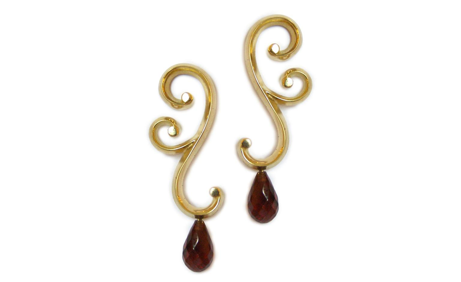 Marianne Anderson Swirl earrings in gold with garnets. £790