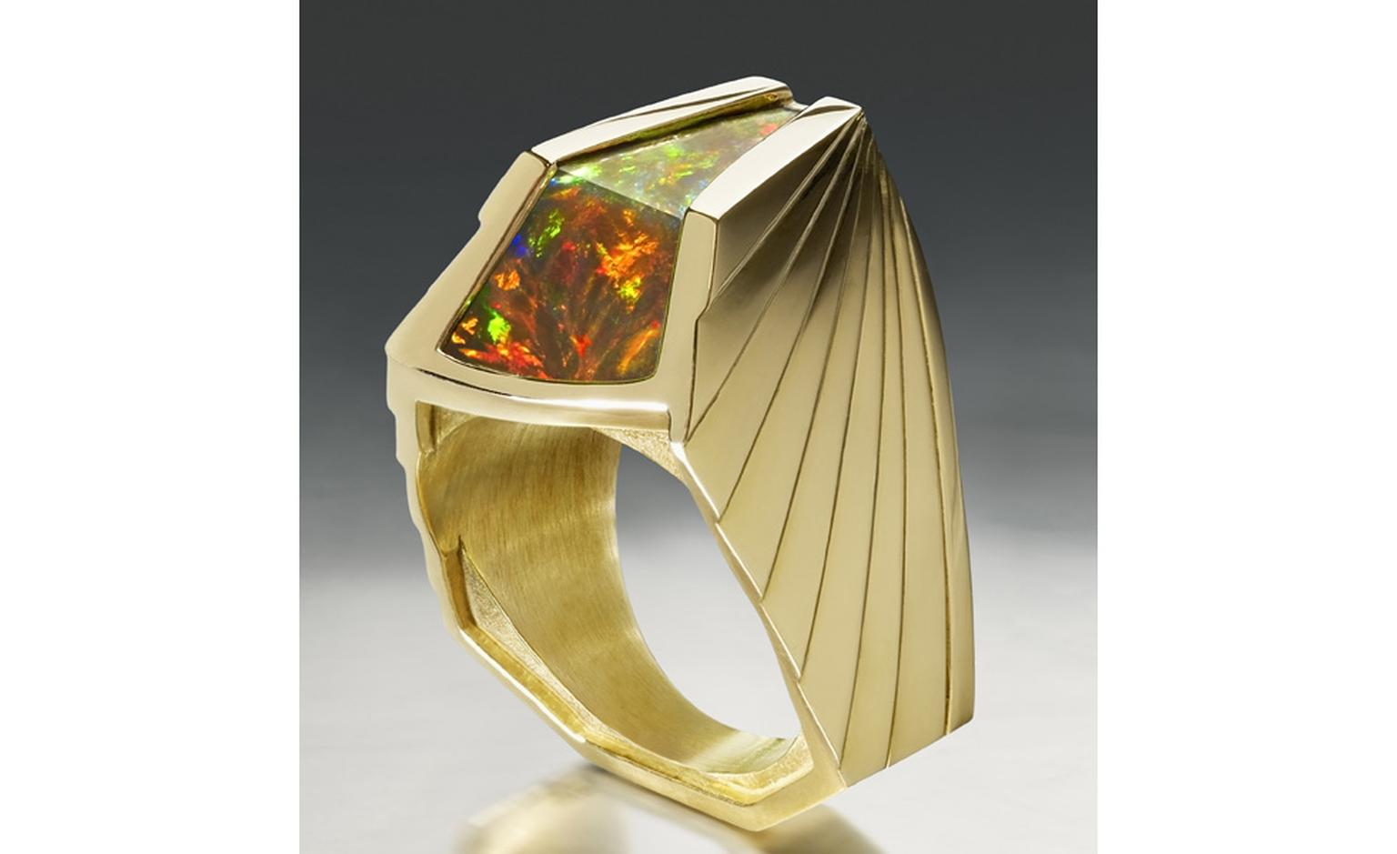 Ornella Iannuzzi Axum ring with Ethiopian Wello opal set in gold £5,000