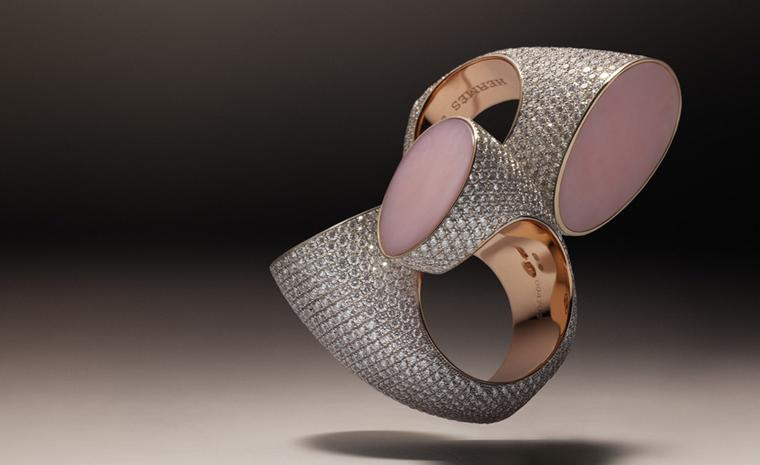 Hermès Centaure double and single rings in rose gold with diamonds and pink opal.