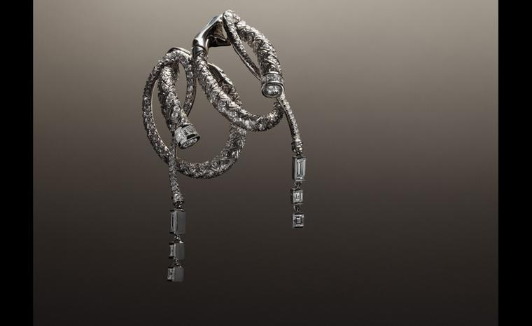 Hermès Fouet earrings in platinum with diamonds.