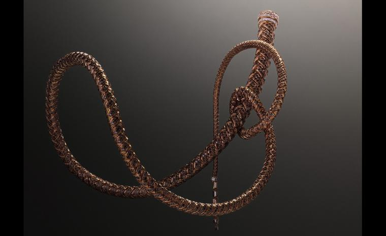 Showstopper: Hermès Fouet necklace in rose with diamonds. The whip is highly articulated and moves with the body.