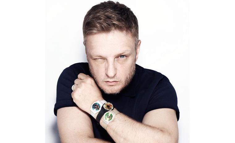The man himself, Rankin. Wearing a selection of his watches featuring close ups of human irises.